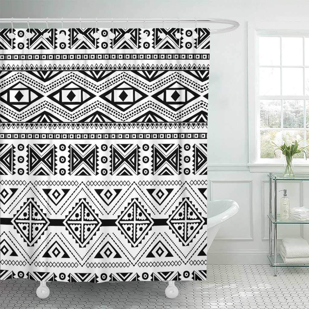 Tribal ethnic ornamental for your own design aztec woven primitive triangle abstract decor shower curtains bathroom curtain