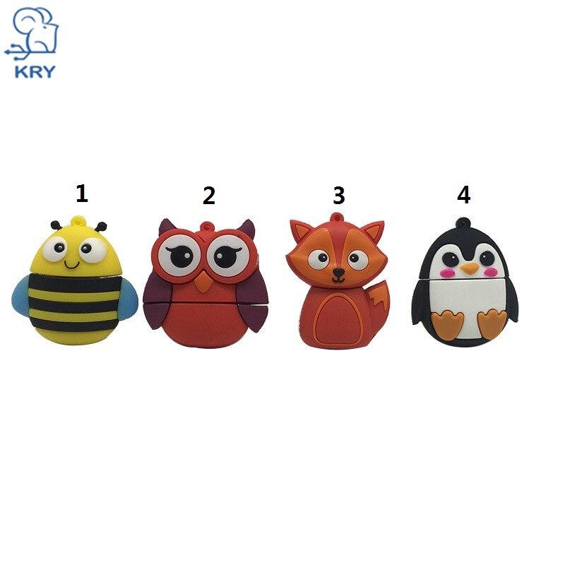KRY cute fox owl model thumb U disk 2.0 4GB 8GB 16GB 32GB 64GB cartoon pendrive penguin USB flash drive memory stick u disk