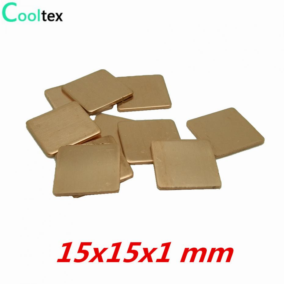 20pcs/lot 15x15x1 mm DIY Copper Heatsink Shim Thermal Pad Heat Sink Sheet  For Laptop GPU CPU VGA Chip RAM cooler cooling tascam dr 05 диктофон