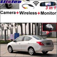 3in1 Liislee Especial Câmera de Visão Traseira Sem Fio + Receptor + Monitor Espelho Fácil Sistema De Estacionamento Para Nissan N17 Sunny 2011 ~ 2014