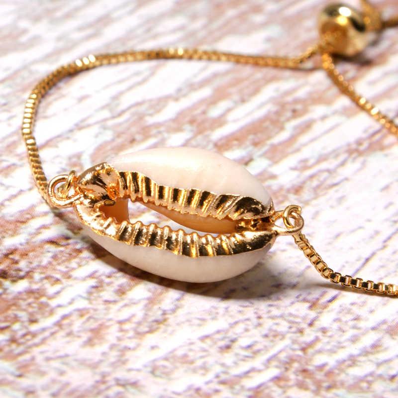 Księżyc dziewczyna złoty kolor naturalny Shell Charm bransoletka moda Trendy przyjaźń Boho Cowrie Chic Pulseras Femme biżuteria Dropshipping