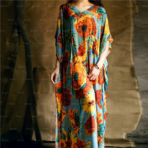 2017 Bohemian Beach Kaftan Ethnic Cotton Rayon Maxi Dress Women Vintage V-neck Tunic Boho Casual Floral Printed Long Dress #A175