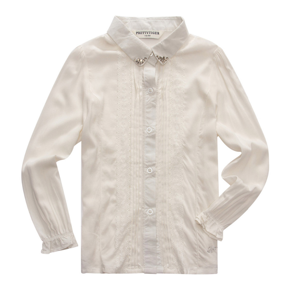 Children White Shirt Autumn Girls Formal Blouse Free Shipping Fashion Fold Shirt Formal Long Sleeve Blouse GA-61G080