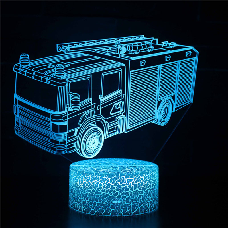Magiclux Transporation Theme Table Lamp With ABS Base And Acryl Light Board 3D Fire Truck Modle USB Bedroom Lamp For Christmas