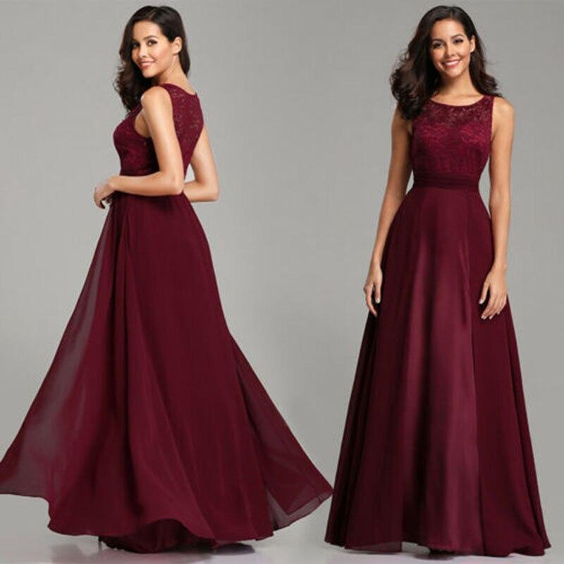 Robes de soirée 2019 magnifique formelle col rond dentelle longue Drak rouge femmes robe de bal robes de soirée