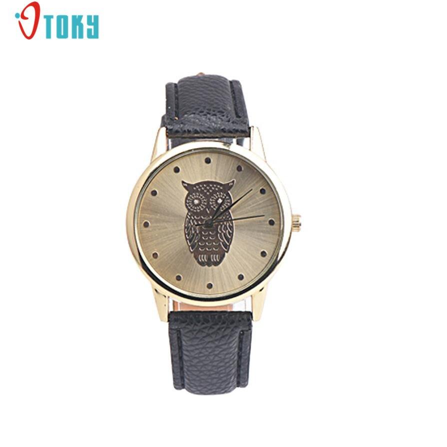 Retro Owl Pattern Design Women Watches PU Leather Band Gold Bezel Clocks Alloy Quartz Wrist Watch Reloj Mujer Creative Apr17