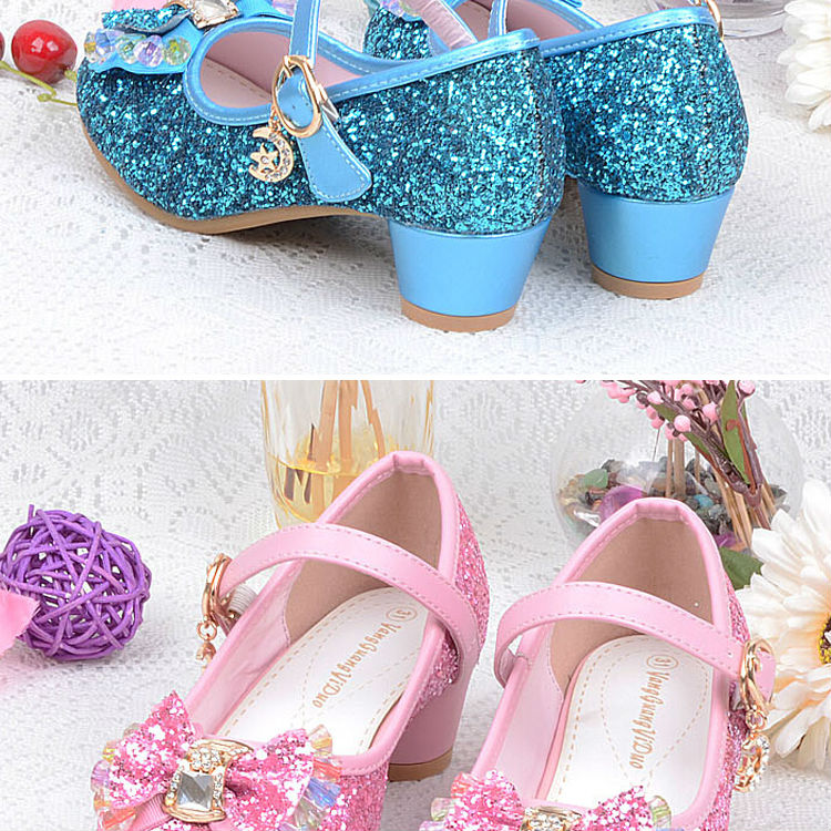 1_042016 spring Kids Girls High Heels For Party Sequined Cloth Blue pink Shoes Ankle Strap Snow Queen Children Girls Pumps Shoes
