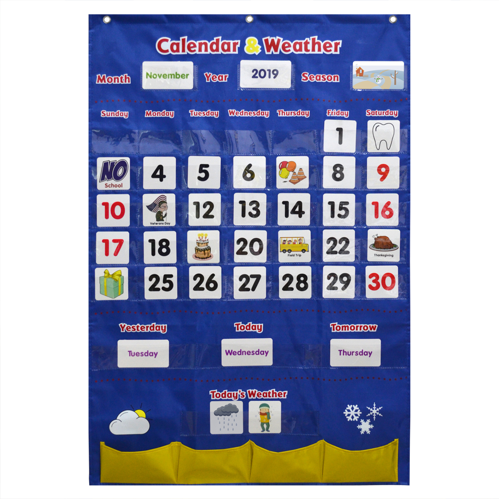 Godery Pocket-Chart-Set Calendar Classroom And for Kindergarten Preschool Kids title=