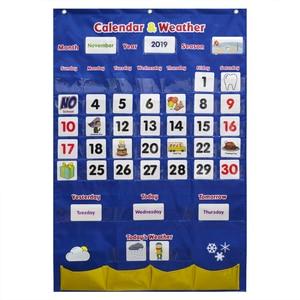 Image 1 - Godery 2020 2028 Preschool Calendar and Weather Pocket Chart Set for Kindergarten Classroom Kids