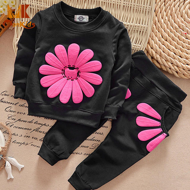 Monkids Autumn Sunflower Long-sleeved Cotton Suit Children Clothing Set Baby Girls Sports Clothes Set Tracksuit For Kids Set