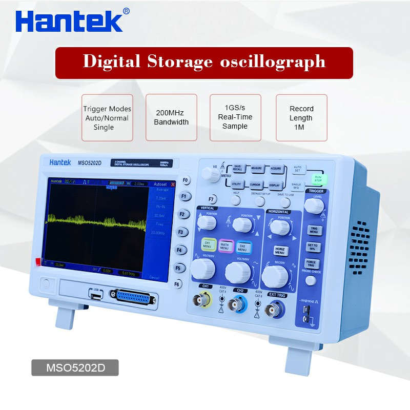 Hantek MSO5202D Digital Oscilloscope 200MHz 2Channels 1GSa/s 16Channels Logic Analyzer 2in1 USB 800x480 digital usb oscilloscopes 20mhz hantek 6022bl shipping russia portablepc 16channels logic analyzer car detector 2channels