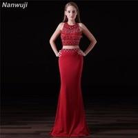 963ee0237 Two Pieces Chiffon Evening Dress Red Crop Top Mermaid Evening Dresses See  Through Skirt. Duas Peças vestido de ...