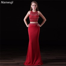 Two Pieces Chiffon Evening Dress  Red Crop Top Mermaid Dresses See Through Skirt