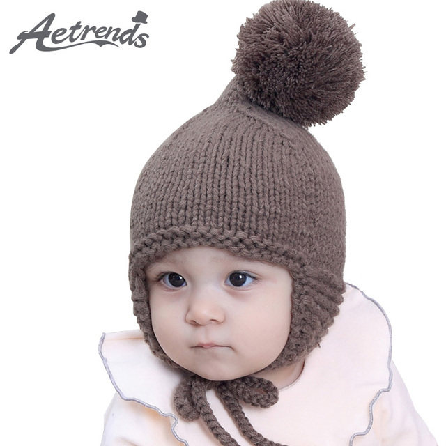AETRENDS  6-24 Months Baby Cute Pom Pom Beanie Hats Babies Lovely Beanies  with Top Ball Z-6190 e007d46a6c6