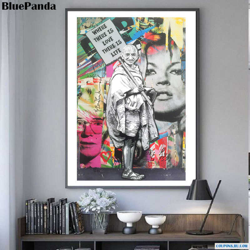 Gandhi Painting Where Is there Love Banksy Kate Moss Mr. Brainwash Oil Canvas Poster Street Art Wall Pictures Home Decor