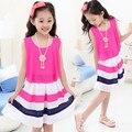Девочки лето шифон платье девочки ткань в полоску принцесса платье год свободного покроя платье Vestido принцесса Roupas Infantis Menina