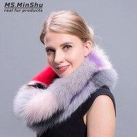 นางสาวMinShuแฟชั่นที่มีสีสันฟ็อกซ์ขนผ้าพันคอหลายสีแฟชั่นฟ็อกซ์ขนปกฤดูหนาวฟ็อกซ์ขนคออุ่นหญ...