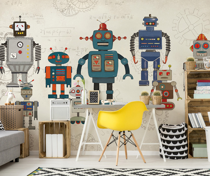 Bacaz Maths Robots Custom 3d Papel Mural 3d Cartoon Wallpaper Murals Baby Child Room Background 3d Wall Mural 3d Wall stickers custom baby wallpaper snow white and the seven dwarfs bedroom for the children s room mural backdrop stereoscopic 3d