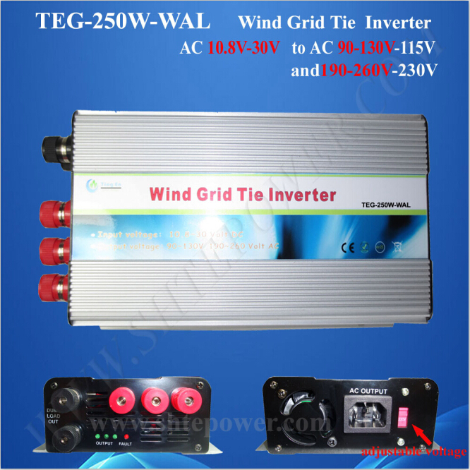 wind grid tie inverter 250w 10.8-30v ac input 190-260V ac output pure sine wave 300w solar grid on tie inverter dc 10 8 30v input to two voltage ac output 90 130v 190 260v choice