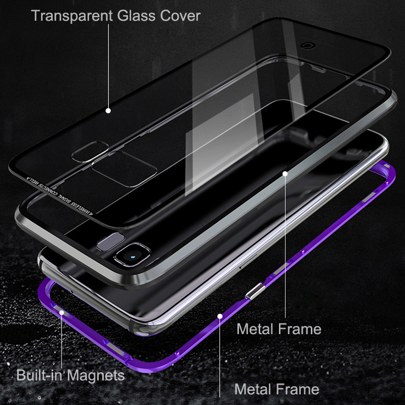 360 Protector Adsorption Metal Magnetic Case For Samsung