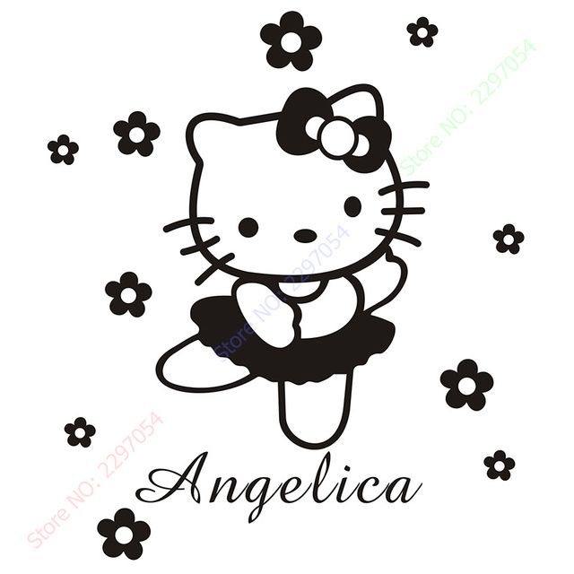 HELLO KITTY Personalized Name Flowers Or Ties Vinyl Wall Decals - Hello kitty custom vinyl stickers