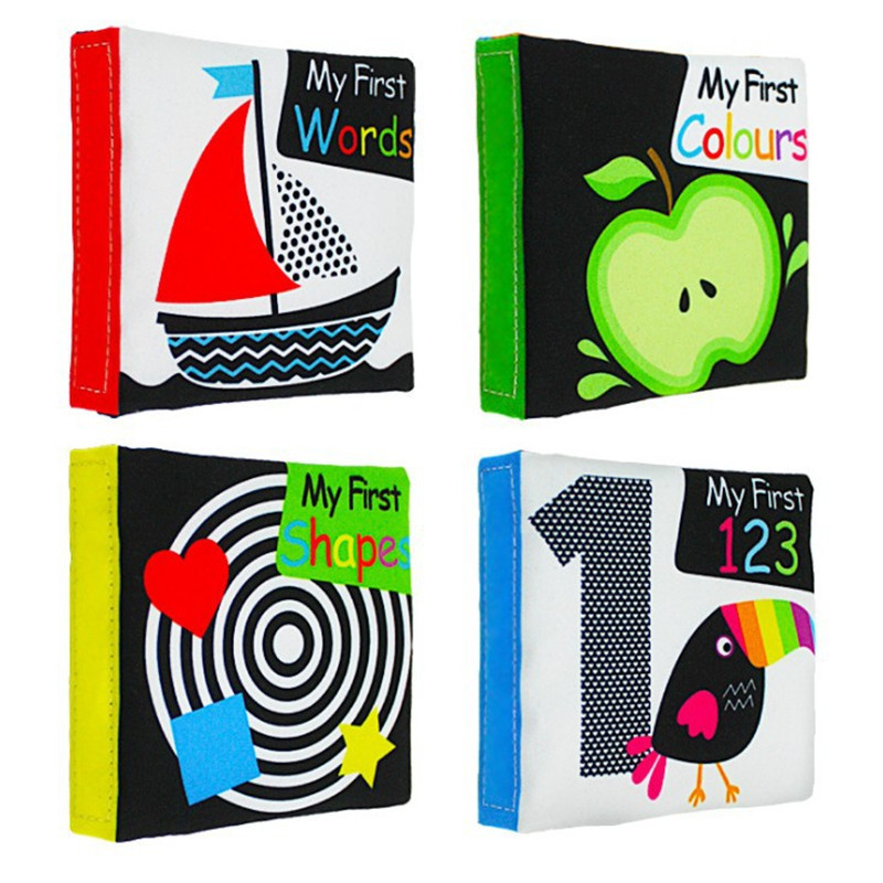 New 4pcs/lot  0+ Baby Cloth Book Infant Toddler Toys White Black Number Word Activity Preschool Toys Newborn Bebe Gift