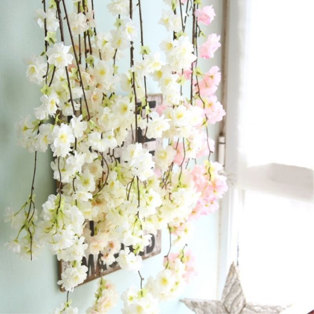 Artificial flowers vine cherry blossoms flower vine hanging for artificial flowers vine cherry blossoms flower vine hanging for wedding decoration diy party home garden christmas junglespirit Image collections