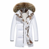 2016 Winter Men's Duck Down Jackets Coats Real Rabbit Fur Men Women Lovers Fashion Thick Warm Parka Mens jaqueta masculina S 5XL