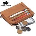 BISON DENIM Bolsa Com Zíper Bolsa de Moedas de Mini carteira Homens Do Vintage Da Marca de Couro Genuíno Carteira de Cartão de Crédito Titulares W9327