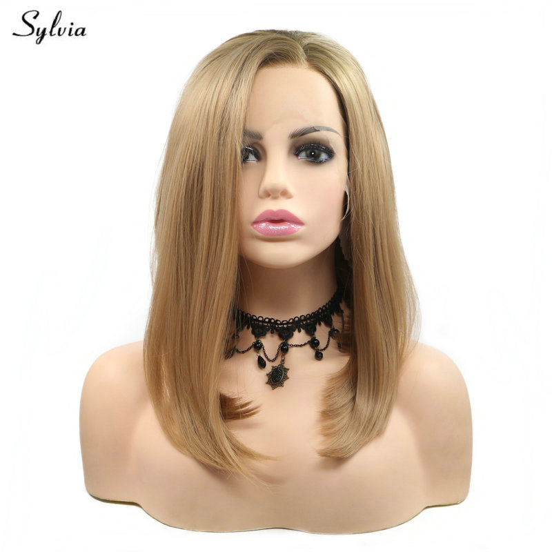 Sylvia Straight Summer Short Bob Hair Gold Blonde Wig Natural Hairline Synthetic Lace Front Wigs for