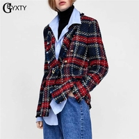 GBYXTY Blazer Femme Women Plaid Tweed Blazer Casual Long Sleeve Pockets Tassel Blazer Coat Ladies Fringe Office Blazer ZA1311