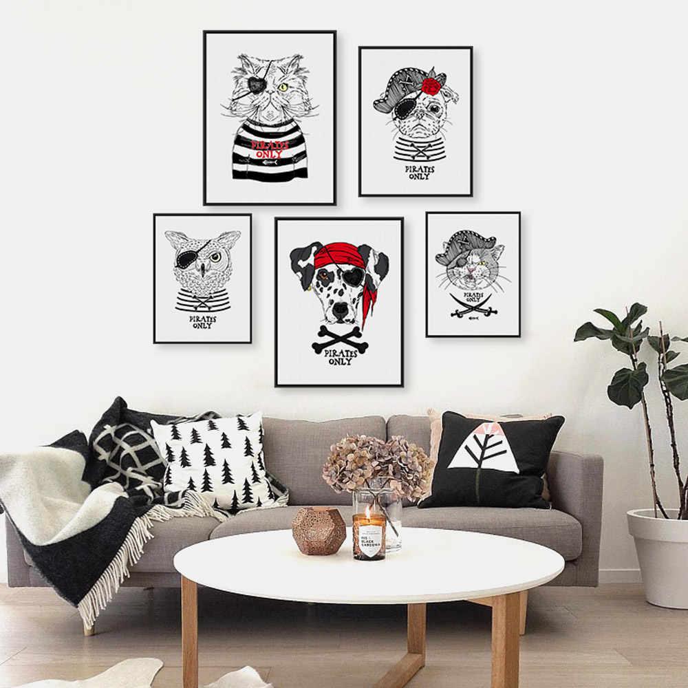 Vintage Retro Piraat Dier Kat Hond Huisdier A4 Art Prints Poster Hippie Muur Foto Canvas Schilderij Geen Ingelijst Kinderkamer home Decor