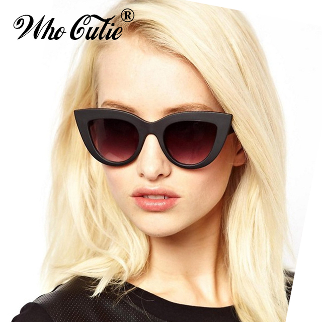 fbf3f0d7c5 WHO CUTIE 2018 Oversized Cat Eye Sunglasses Brand Designer Women Vintage  Black Lady Cateye Sun Glasses Shades oculos 347