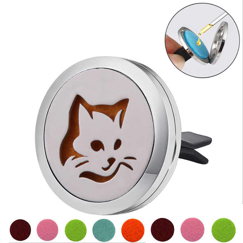 Cat shape Stainless Steel Car Air Freshener Perfume Essential Oil Diffuser Locket Random Send 1pcs Oil Pads Gift Girl Jewelry