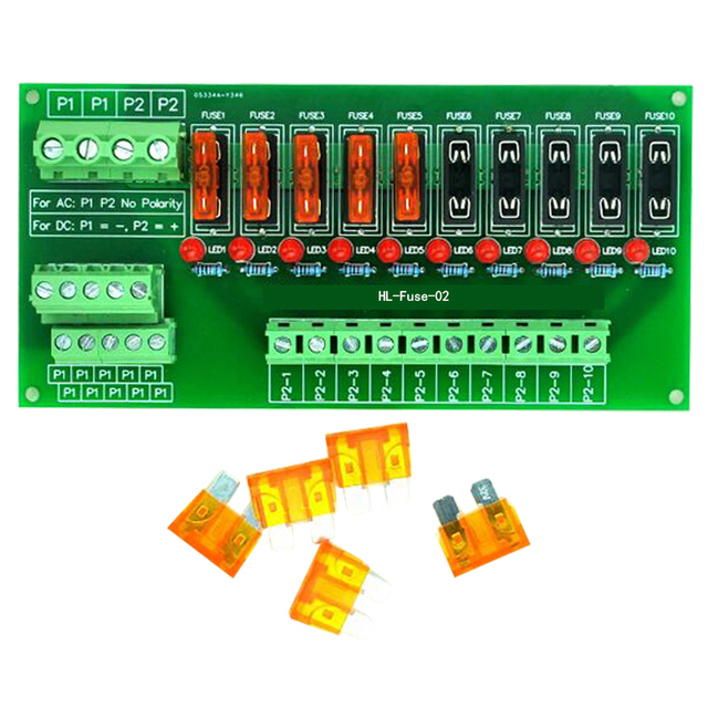 Plattenmontage 10 Position Power Distribution Fuse Modul Bord, für AC/DC 5 ~ 32 V.