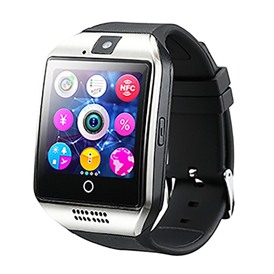 Smart <font><b>Watch</b></font> Q18 Plus Clock Sync Notifier <font><b>Support</b></font> <font><b>Sim</b></font> SD Card Bluetooth Connectivity Android Phone Smartwatch <font><b>Sport</b></font> <font><b>pedometer</b></font>
