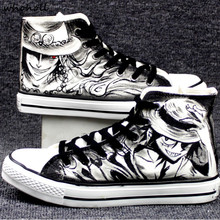WHOHOLL Anime One Piece Luffy Print Canvas Shoes Man Women Cool Casual Shoes Student Vulcanize Shoes Lace Up Flat Sneakers Man