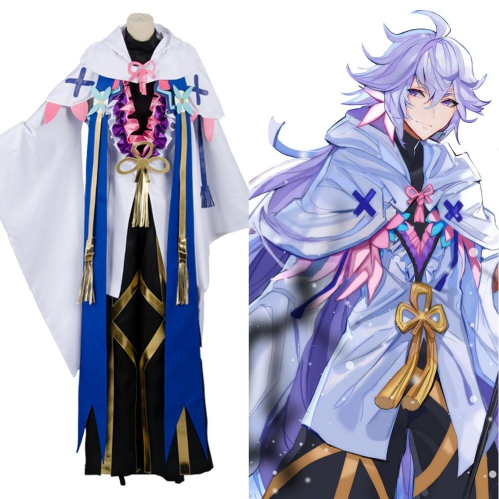 Anime destin Grand ordre Merlin Ambrosius Cosplay Costume cape + chapeaux + Kimono + pantalon + chemise ensemble complet