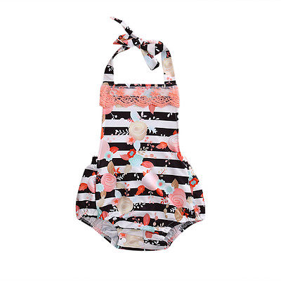Toddler Infant Baby Girl Clothes Floral Halter Romper Jumpsuit Outfits Summer Newborn Clothing Cotton Baby Onesie Sunsuit 2016 new newborn infant baby boy girl rompers toddler clothing romper jumpsuit black big eye cotton long sleeve clothes outfits