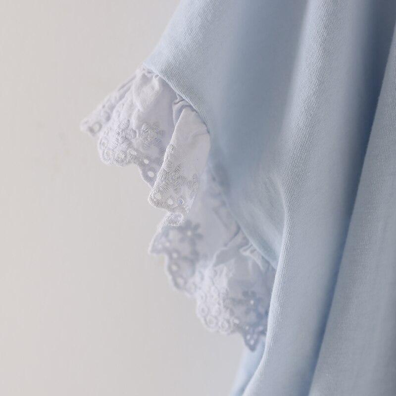 Courtes Color white Coréenne Blue Code Grand pink Femme T663bg Dentelle Doux À Édition Manches shirt Lâche T z6f5q1wx