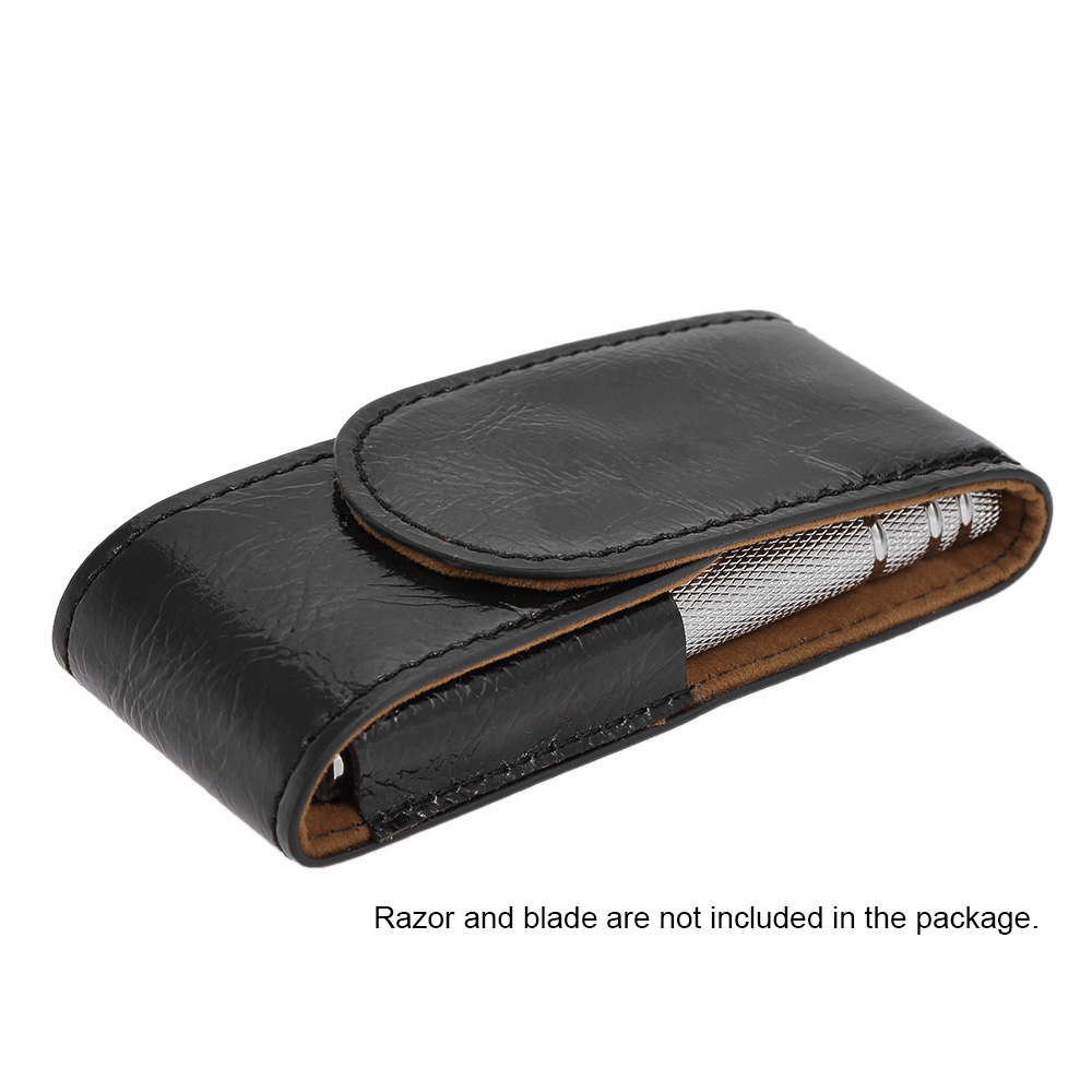Men PU Leather Razor Pouch Travel Shaving Brush Safety Razor Case Storage Bag Double Edge Razor Holder Razor Blade Store