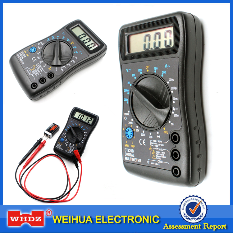 WHDZ DT820B Mini Digital Multimeter with Overload protection Voltmeter Ampere Ohm Tester Probe DC AC LCD Black Free shipping an8206 overload protection mini digital multimeter lcd large screen display wave output ampere voltage ohm tester multimeter