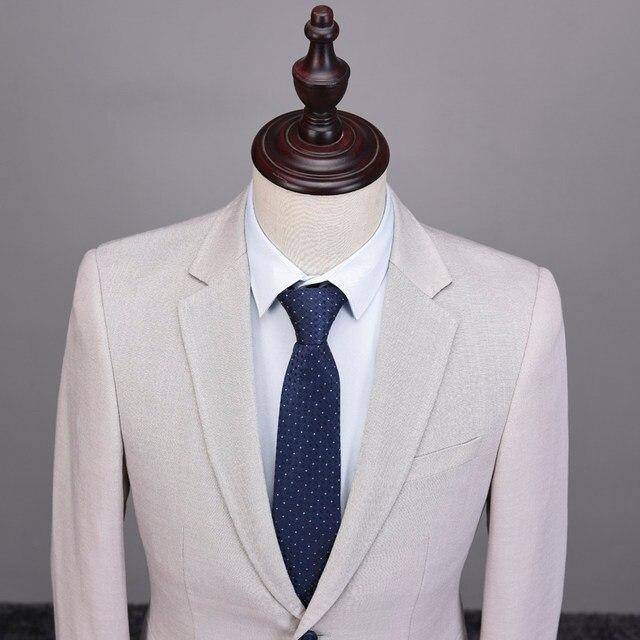 Online Shop Linen Suits Men 2018 Slim Fit 3 Piece Wedding Suits ...