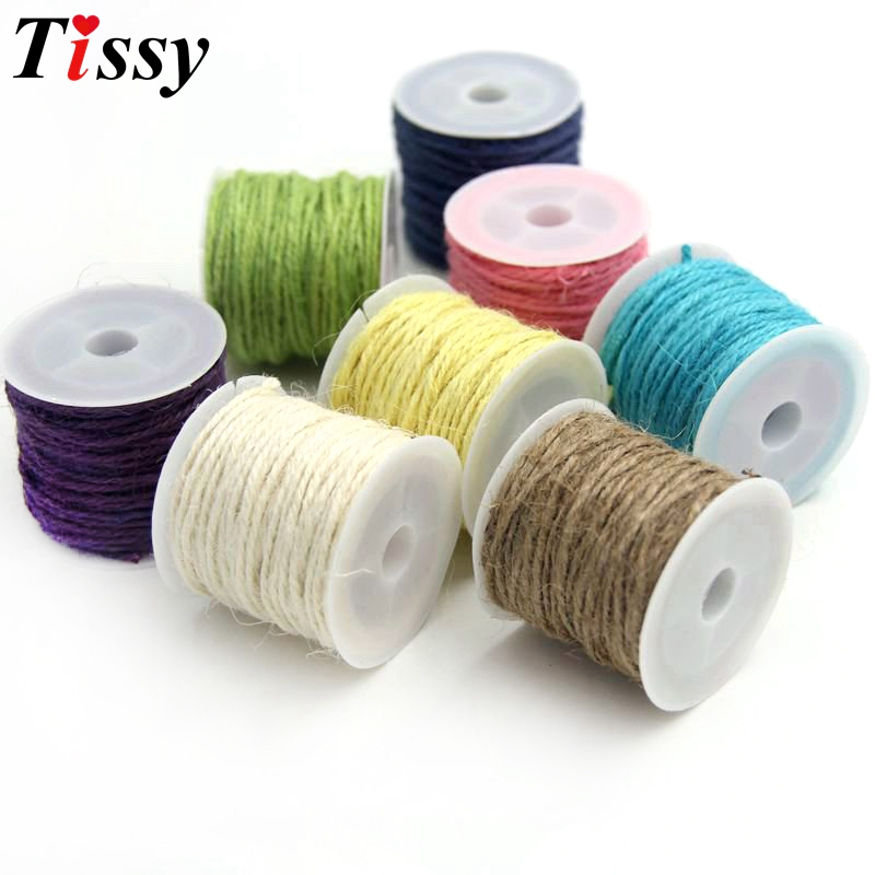 10MLot Colorful Natural Hessian Jute Twine Rope Burlap  Vintage For Home Wedding Party Decoration DIY Craft Gifts Supplies