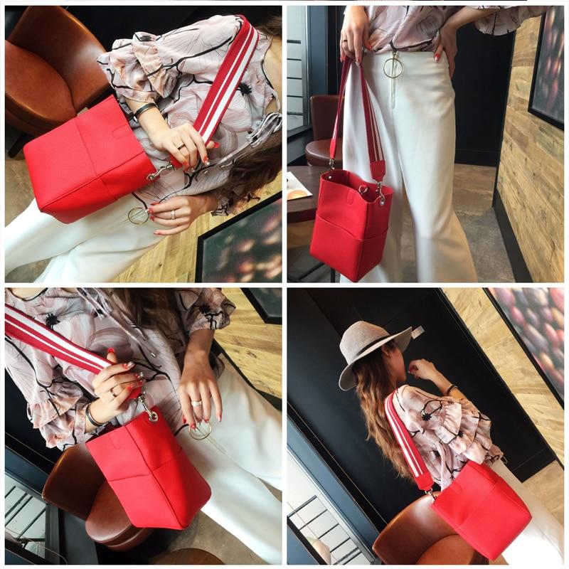 Composite bag 2018 female fashion bag bag ladies handbag bucket bag solid shoulder diagonal bag