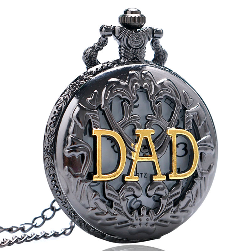 Regalo Para El Padre Black Hollow DAD Design Quartz Pocket Watch With Necklace Chain Gift For Father Dad Fob Watches