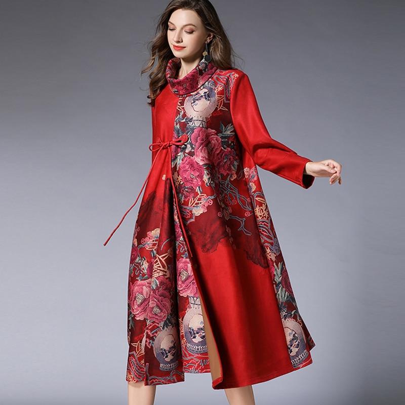 10fff6042fd Robe Nouveau Daim Col Style En Tissu Chinois Noir À Lâche D impression  Taille Mode Plus rouge Femmes Des Occasionnels Manches Longues ...