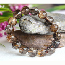 Clear Natural Coffee Mica Titanium Hair Needle Rutile Quartz Rutilated Finished Stretch Bracelet Round Jewelry beads
