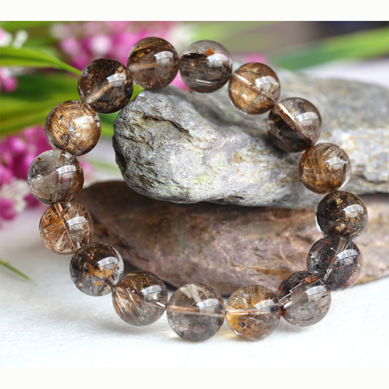 Clear Natural Coffee Mica Titanium Hair Needle Rutile Quartz Rutilated Finished Stretch Bracelet Round font b