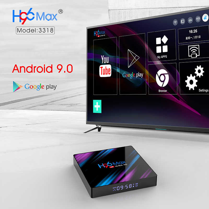 Ensemble décodeur TV 4G DDR3 USB 3.0 Bluetooth 4.0 Android 9.0 9 OS 4K 4096x2160 H96 Smart penta-core Mali-450 RK3318 GPU 2.4G/5G